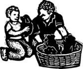 Drzeworyt ilustracja nowych szczeniąt — Wektor stockowy