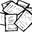 Woodcut illustration of Paperwork — Vector de stock #29890701