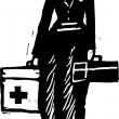 Woodcut Illustration of Paramedic — Stok Vektör