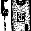 Woodcut Illustration of Pay Phone — Vecteur #29890819