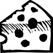 Woodcut Illustration Icon of Wedge of Cheese — 图库矢量图片