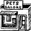 Woodcut Illustration of Pet Store — Stock Vector #29891171