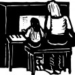 Woodcut illustration of Piano Lesson — Vettoriali Stock