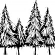 Woodcut Illustration of Pine Trees — Stockvektor #29891593