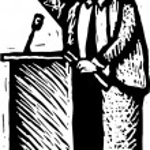 Woodcut Illustration of Politician — Stock Vector