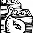 Woodcut Illustration of Stacks of Money and Money Bag — Stock Vector