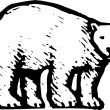Woodcut Illustration of Polar Bear — ベクター素材ストック