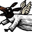 Woodcut Illustration of Angel Dog Chasing Halo — Image vectorielle