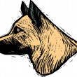 Woodcut Illustration of German Shepherd Dog Face — Stockvektor