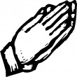 Woodcut Illustration of Hands in Prayer Position — Imagens vectoriais em stock
