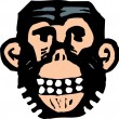 Woodcut Illustration Icon of Chimp — Stock Vector