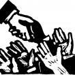 Stock Vector: Woodcut Illustration of PoliticiShaking Hands