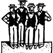 Постер, плакат: Woodcut Illustration of Quartet