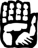 Houtsnede illustratie pictogram van palm — Stockvector