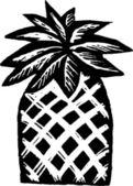Holzschnitt-abbildung-symbol palme — Stockvektor