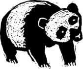 Ilustración de xilografía de panda — Vector de stock