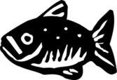 Icono ilustración xilografía de peces — Vector de stock