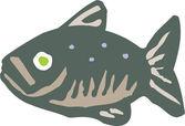 魚の木版画イラスト アイコン — ストックベクタ
