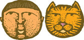 Drzeworyt ilustracja kot chłopiec i zaprawa murarska — Wektor stockowy