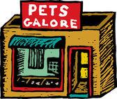 Ilustração em xilogravura de homem com animal de estimação — Vetorial Stock