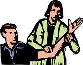 Dřevoryt ilustrace fyzikální terapeut s pacientem — Stock vektor