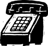 Woodcut illustration of Telephone — Vector de stock