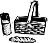 Woodcut Illustration of Picnic — Vettoriale Stock