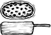 Woodcut illustration of Pizza! — Stock Vector