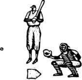 Woodcut Illustration of Baseball Player Batting and Catcher — Stock Vector