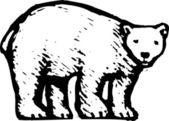 Woodcut Illustration of Polar Bear — Stock Vector