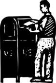 Woodcut illustration of Post — Stock Vector
