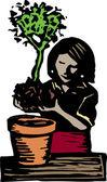 Woodcut Illustration of Potting Plant — Stock Vector