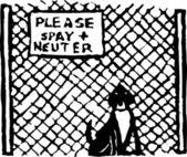 Ilustração em xilogravura de cão no abrigo de animais ou libra — Vetorial Stock