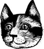 Ilustração de xilogravura do rosto de gato malhado — Vetor de Stock