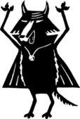 Träsnitt illustration av djävulen hund — Stockvektor