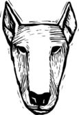 Woodcut Illustration of Bull Terrier Dog Face — Vettoriale Stock