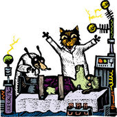 Woodcut Illustration of Cat and Dog Scientists Creating Frankendog — Stock Vector