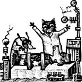 Woodcut Illustration of Cat and Dog Scientists Creating Frankendog — Vettoriale Stock