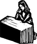 Illustration de la gravure sur bois de femme en prière — Vecteur