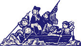 Woodcut Illustration of Kids in Costume Crossing the Delaware — Stock Vector