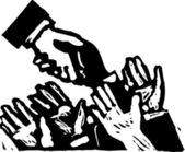 Woodcut Illustration of Politician Shaking Hands — Stock Vector