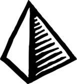 Icono ilustración xilografía de pirámide — Vector de stock
