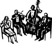 Woodcut Illustration of Quartet — Stock Vector