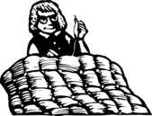 Illustration de la gravure sur bois de la courtepointe — Vecteur