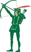Woodcut Illustration of Robin Hood Shooting an Arrow — Stock Vector