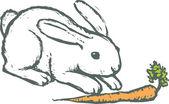 Ilustração em xilogravura de coelho com cenoura — Vetorial Stock