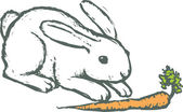 Woodcut illustration of Rabbit with Carrot — Vettoriale Stock