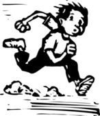 Woodcut Illustration of Boy Running — Stock Vector