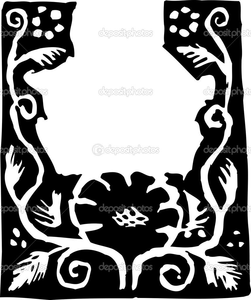 Eve Stockton - Spring Magenta Dk, Botanical Woodcut Print ...  |Botanical Woodcut