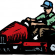 Man Mowing Grass on Ride Mower — Stock Vector
